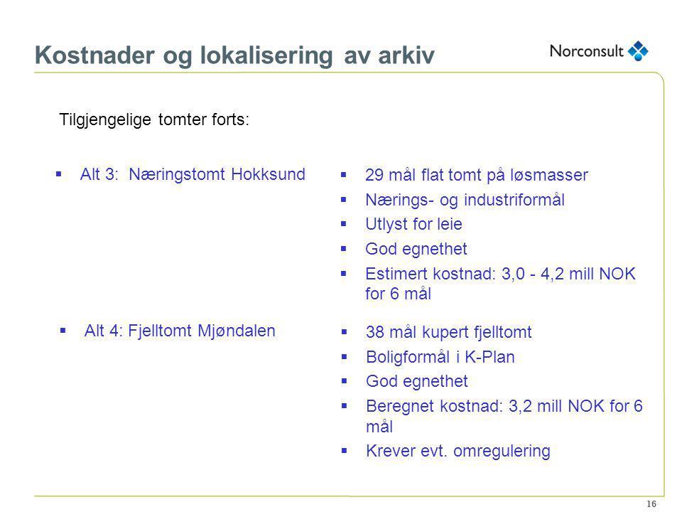16 Kostnader og lokalisering av arkiv Tilgjengelige tomter forts:  Alt 3: Næringstomt Hokksund  29 mål flat tomt på løsmasser  Nærings- og industri