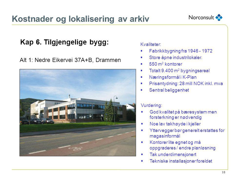 18 Kostnader og lokalisering av arkiv Kap 6. Tilgjengelige bygg: Alt 1: Nedre Eikervei 37A+B, Drammen Kvaliteter:  Fabrikkbygning fra 1946 - 1972  S