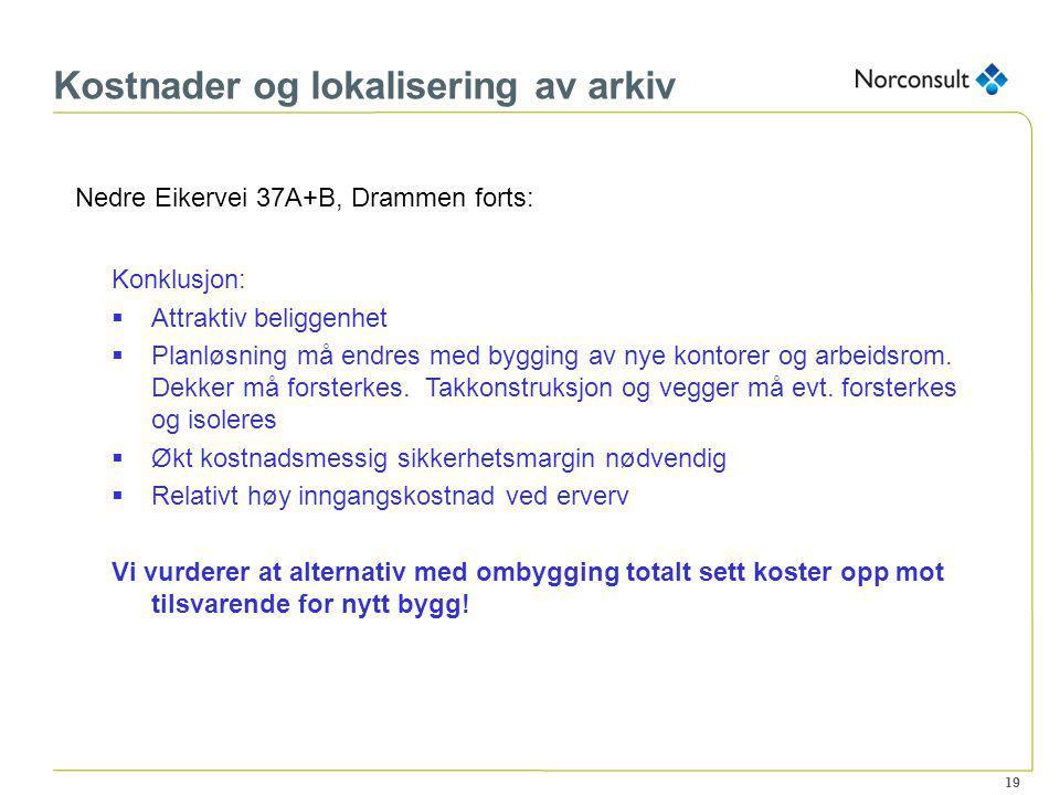 19 Kostnader og lokalisering av arkiv Nedre Eikervei 37A+B, Drammen forts: Konklusjon:  Attraktiv beliggenhet  Planløsning må endres med bygging av