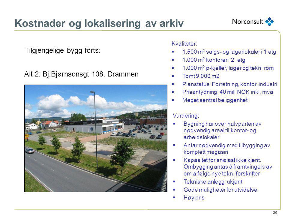 20 Kostnader og lokalisering av arkiv Tilgjengelige bygg forts: Alt 2: Bj.Bjørnsonsgt 108, Drammen Kvaliteter:  1.500 m 2 salgs- og lagerlokaler i 1