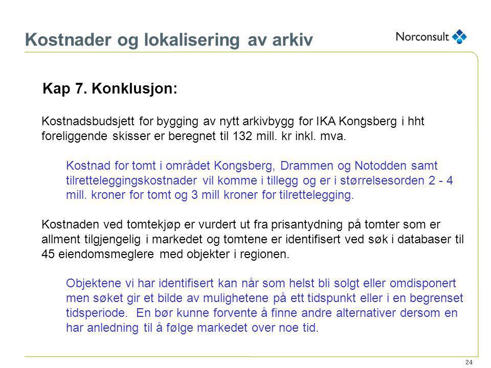 24 Kostnader og lokalisering av arkiv Kap 7. Konklusjon: Kostnadsbudsjett for bygging av nytt arkivbygg for IKA Kongsberg i hht foreliggende skisser e