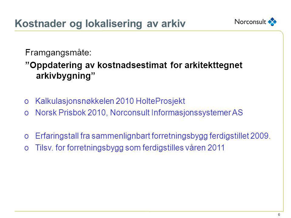 Kostnader og lokalisering av arkiv Presentasjon av Norconsult rapport 5103876-001 Arkivsenter Østafjells - Informasjons-/eiermøte 20.