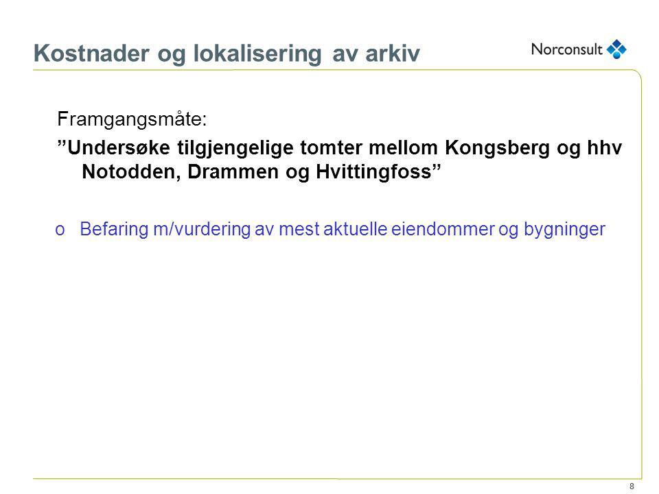 """8 Kostnader og lokalisering av arkiv Framgangsmåte: """"Undersøke tilgjengelige tomter mellom Kongsberg og hhv Notodden, Drammen og Hvittingfoss"""" oBefari"""