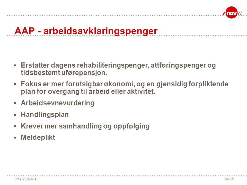 NAV, 27.06.2014Side 14 AAP - arbeidsavklaringspenger  Erstatter dagens rehabiliteringspenger, attføringspenger og tidsbestemt uførepensjon.  Fokus e
