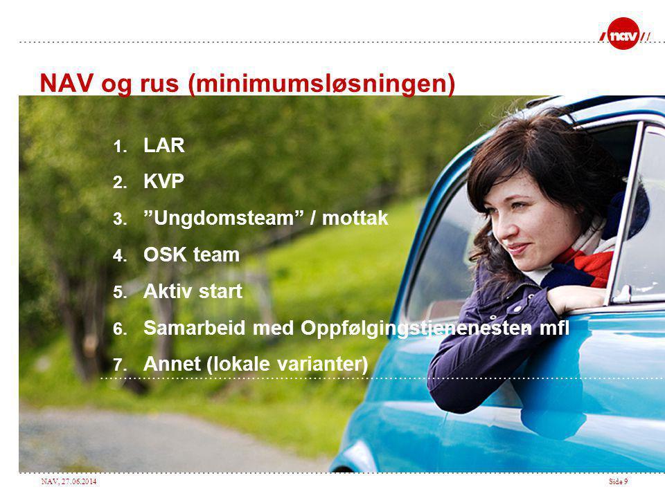 """NAV, 27.06.2014Side 9 NAV og rus (minimumsløsningen) 1. LAR 2. KVP 3. """"Ungdomsteam"""" / mottak 4. OSK team 5. Aktiv start 6. Samarbeid med Oppfølgingstj"""