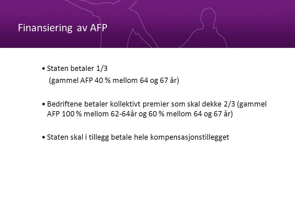 Finansiering av AFP •Staten betaler 1/3 (gammel AFP 40 % mellom 64 og 67 år) •Bedriftene betaler kollektivt premier som skal dekke 2/3 (gammel AFP 100