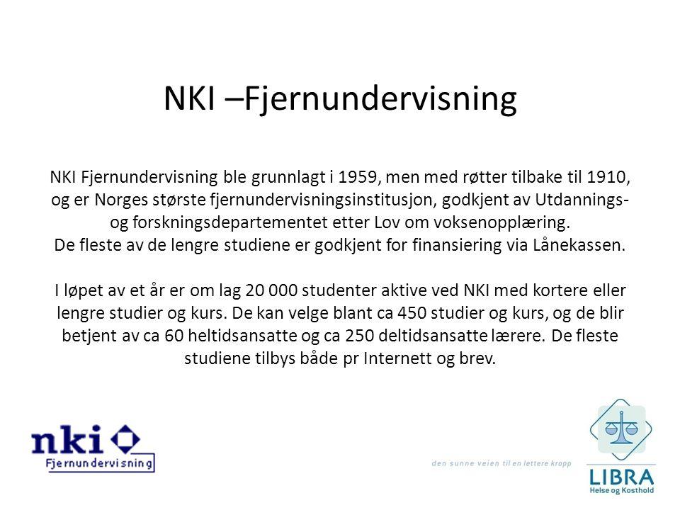 NKI –Fjernundervisning NKI Fjernundervisning ble grunnlagt i 1959, men med røtter tilbake til 1910, og er Norges største fjernundervisningsinstitusjon, godkjent av Utdannings- og forskningsdepartementet etter Lov om voksenopplæring.