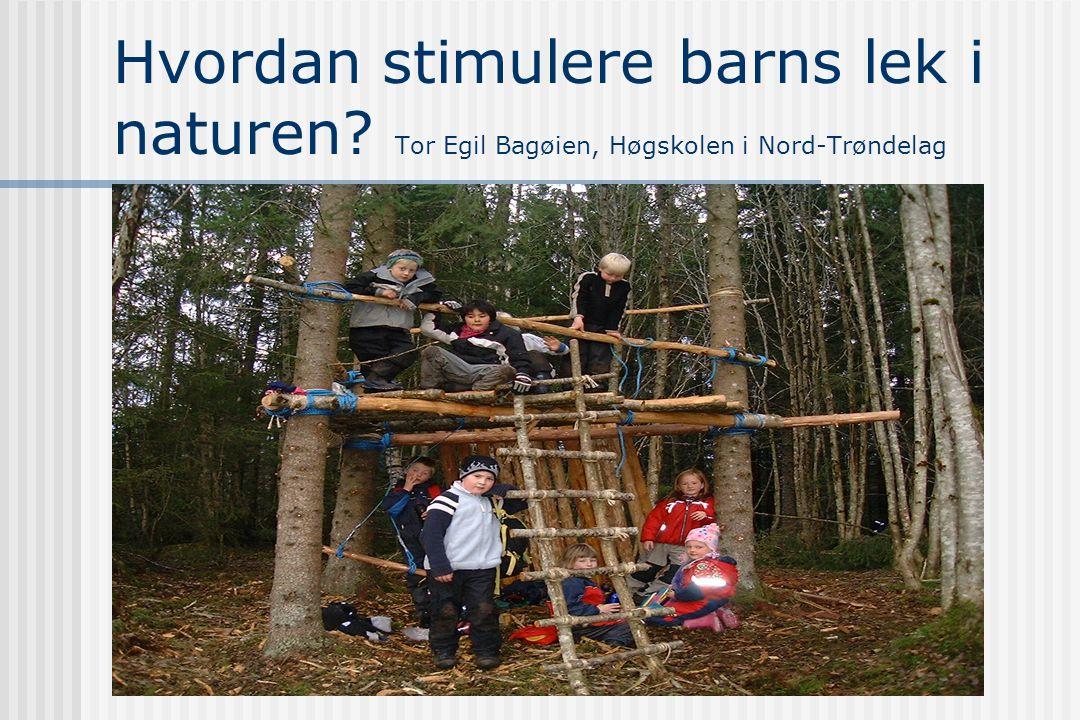 Hvordan stimulere barns lek i naturen? Tor Egil Bagøien, Høgskolen i Nord-Trøndelag