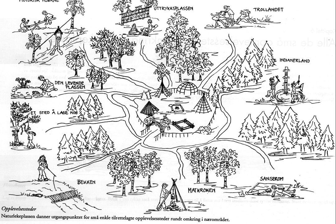 """Naturlekeplassen - Natursteder  Små områder rundt naturlekeplassen gir muligheter for egenaktivitet  Tverrfaglig  """"vises"""" ikke"""