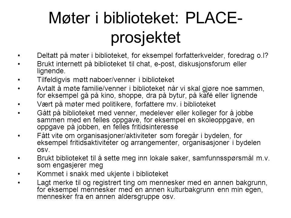 Møter i biblioteket: PLACE- prosjektet •Deltatt på møter i biblioteket, for eksempel forfatterkvelder, foredrag o.l? •Brukt internett på biblioteket t