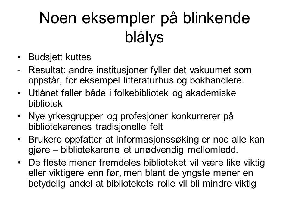 Noen eksempler på blinkende blålys •Budsjett kuttes -Resultat: andre institusjoner fyller det vakuumet som oppstår, for eksempel litteraturhus og bokh