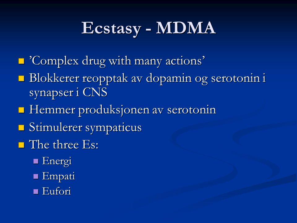 Ecstasy - MDMA  'Complex drug with many actions'  Blokkerer reopptak av dopamin og serotonin i synapser i CNS  Hemmer produksjonen av serotonin  S