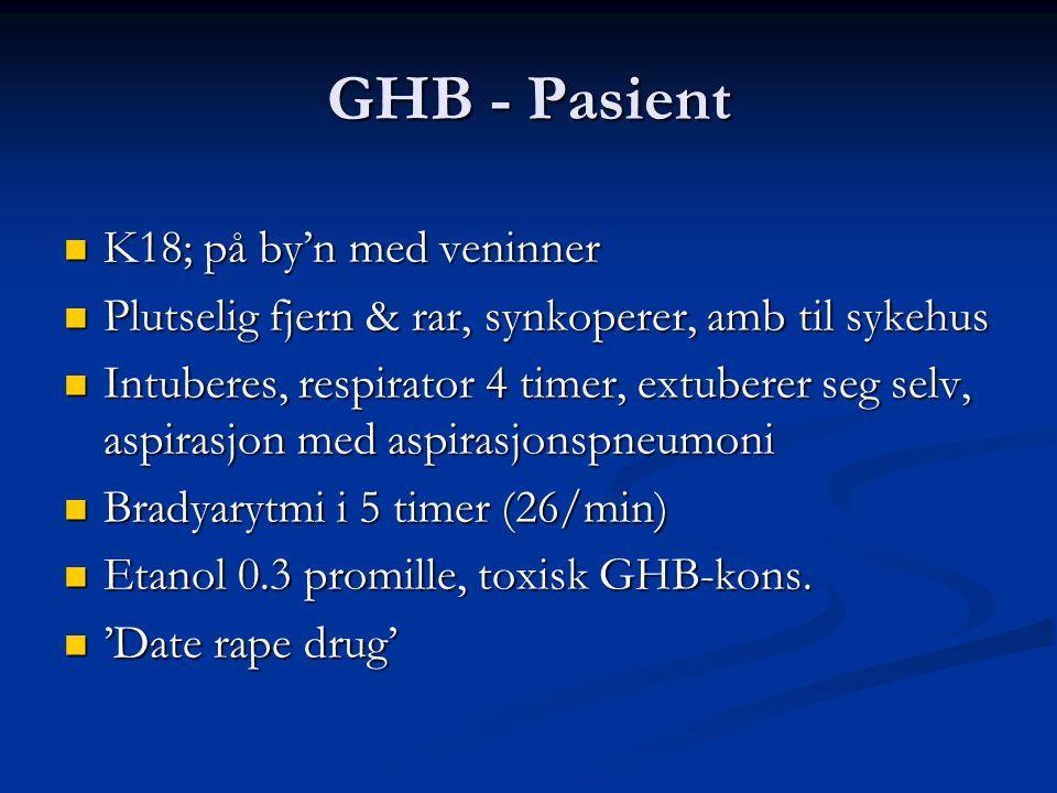 GHB - Pasient  K18; på by'n med veninner  Plutselig fjern & rar, synkoperer, amb til sykehus  Intuberes, respirator 4 timer, extuberer seg selv, as