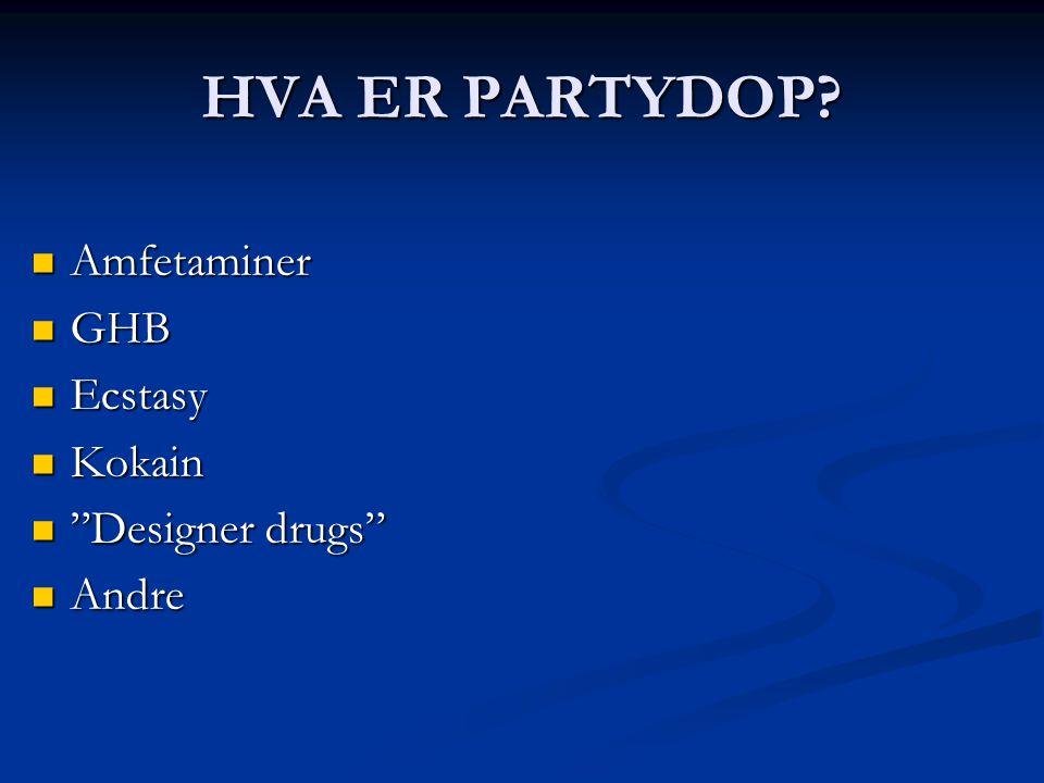 """HVA ER PARTYDOP?  Amfetaminer  GHB  Ecstasy  Kokain  """"Designer drugs""""  Andre"""