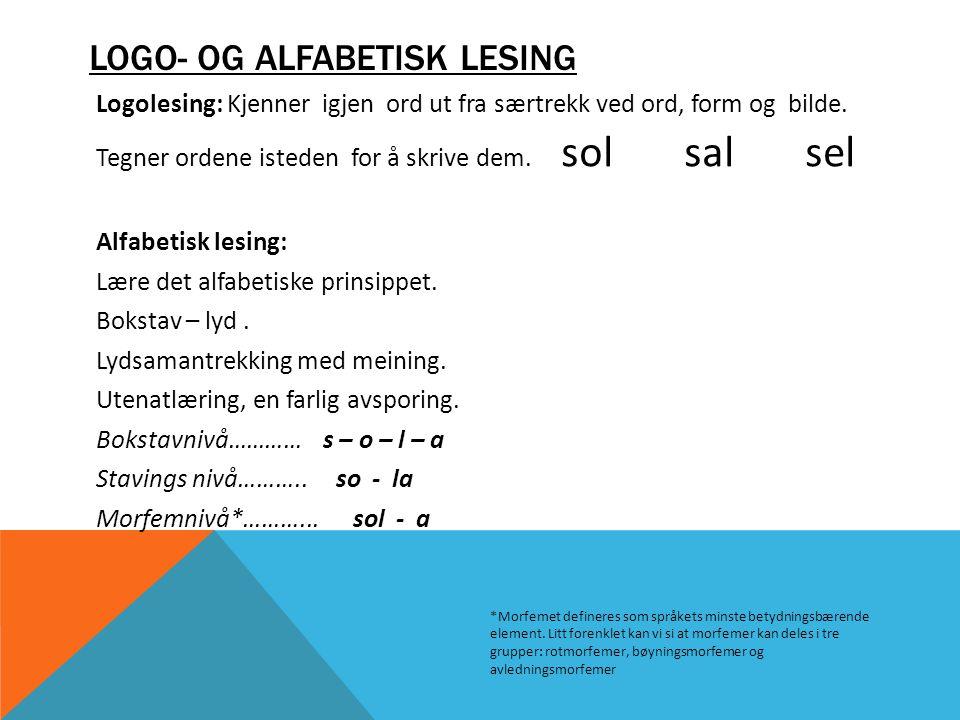 LOGO- OG ALFABETISK LESING Logolesing: Kjenner igjen ord ut fra særtrekk ved ord, form og bilde. Tegner ordene isteden for å skrive dem. sol sal sel A