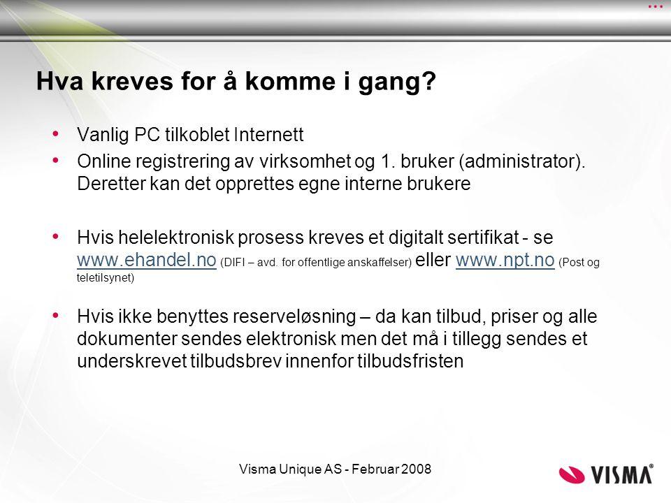 Visma Unique AS - Februar 2008 Eksempel på noen skjermbilder fra KGV løsningen