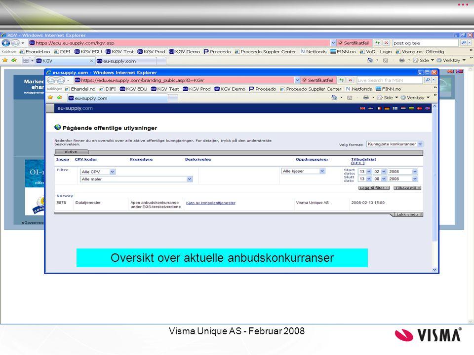 Visma Unique AS - Februar 2008 Åpningsbilde med aktuelle tjenester (meny til venstre) og vinduer med informasjon om meldinger og aktive anbudskonkurranser