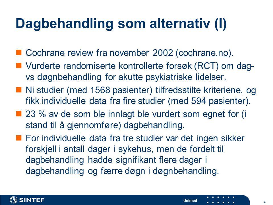 Unimed 5 Dagbehandling som alternativ (II)  For pasienter funnet egnet for dagbehandling i tre studier, hadde dagpasientene raskere bedring enn døgnpasientene i symptomer, men ikke i funksjonsnivå.