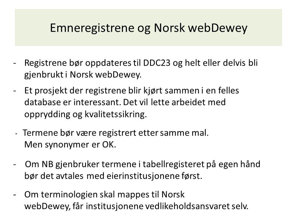 Emneregistrene og Norsk webDewey -Registrene bør oppdateres til DDC23 og helt eller delvis bli gjenbrukt i Norsk webDewey. - Om NB gjenbruker termene