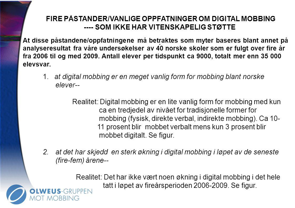 FIRE PÅSTANDER/VANLIGE OPPFATNINGER OM DIGITAL MOBBING ---- SOM IKKE HAR VITENSKAPELIG STØTTE. 1. at digital mobbing er en meget vanlig form for mobbi