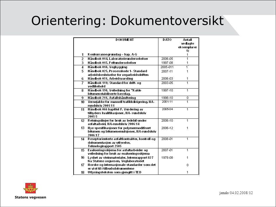 jenslo/04.02.2008/12 Orientering: Dokumentoversikt