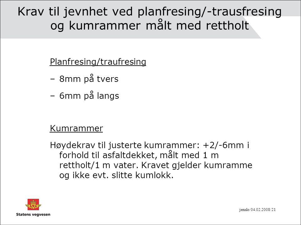 jenslo/04.02.2008/21 Krav til jevnhet ved planfresing/-trausfresing og kumrammer målt med rettholt Planfresing/traufresing –8mm på tvers –6mm på langs