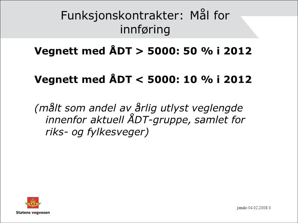jenslo/04.02.2008/3 Funksjonskontrakter: Mål for innføring Vegnett med ÅDT > 5000: 50 % i 2012 Vegnett med ÅDT < 5000: 10 % i 2012 (målt som andel av