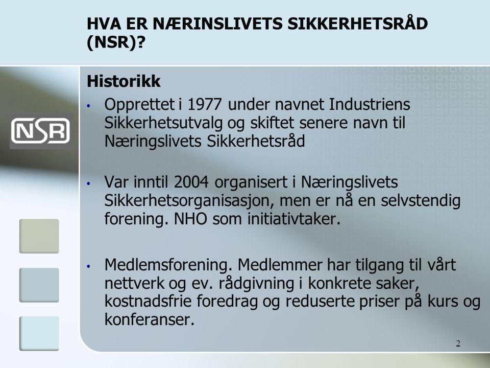 2 HVA ER NÆRINSLIVETS SIKKERHETSRÅD (NSR)? Historikk • Opprettet i 1977 under navnet Industriens Sikkerhetsutvalg og skiftet senere navn til Næringsli