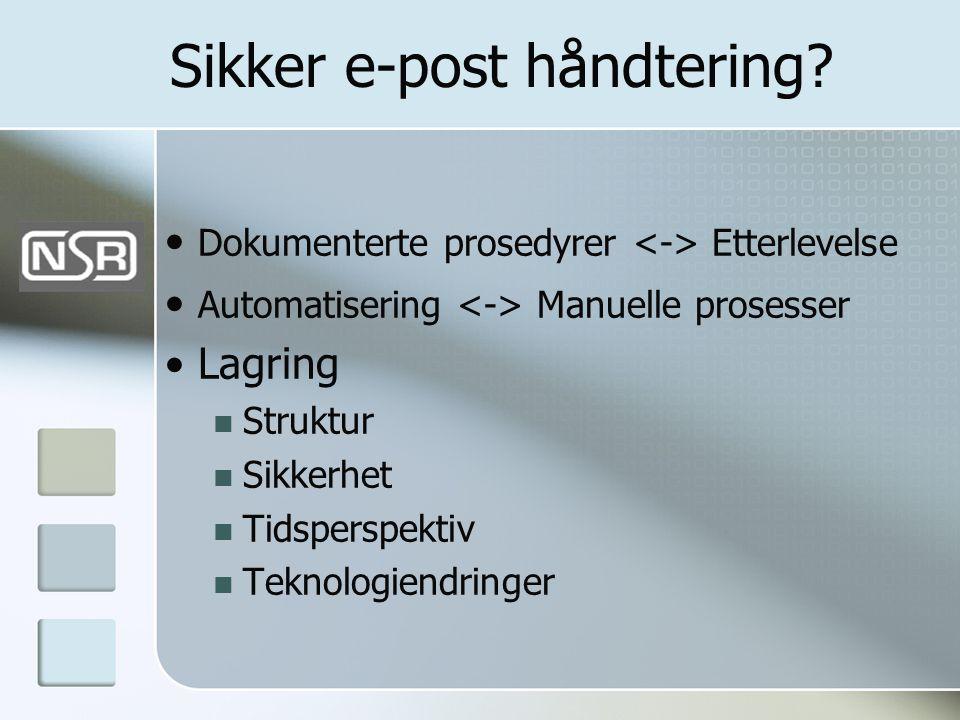 Sikker e-post håndtering? • Dokumenterte prosedyrer Etterlevelse • Automatisering Manuelle prosesser • Lagring  Struktur  Sikkerhet  Tidsperspektiv