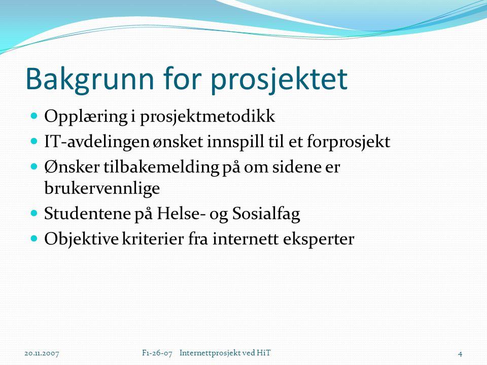 Bakgrunn for prosjektet  Opplæring i prosjektmetodikk  IT-avdelingen ønsket innspill til et forprosjekt  Ønsker tilbakemelding på om sidene er bruk