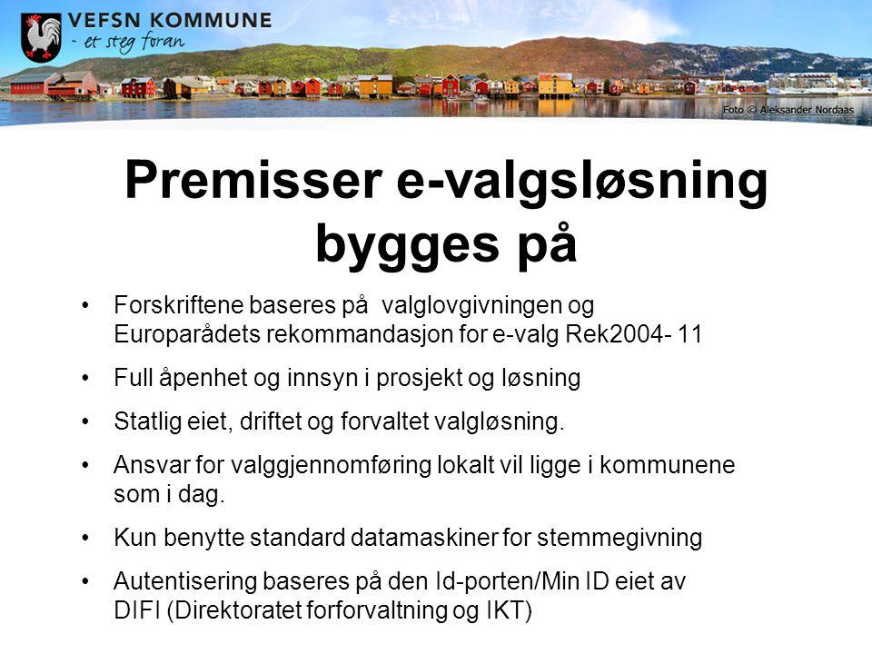 Premisser e-valgsløsning bygges på •Forskriftene baseres på valglovgivningen og Europarådets rekommandasjon for e-valg Rek2004- 11 •Full åpenhet og innsyn i prosjekt og løsning •Statlig eiet, driftet og forvaltet valgløsning.