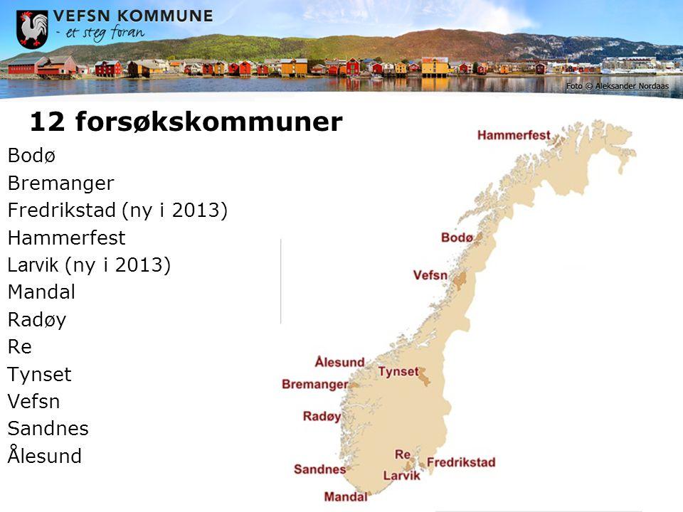 Bodø Bremanger Fredrikstad (ny i 2013) Hammerfest Larvik (ny i 2013) Mandal Radøy Re Tynset Vefsn Sandnes Ålesund 12 forsøkskommuner