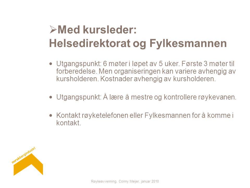 Røykeavvenning, Conny Meijer, januar 2010  Med kursleder: Helsedirektorat og Fylkesmannen  Utgangspunkt: 6 møter i løpet av 5 uker.