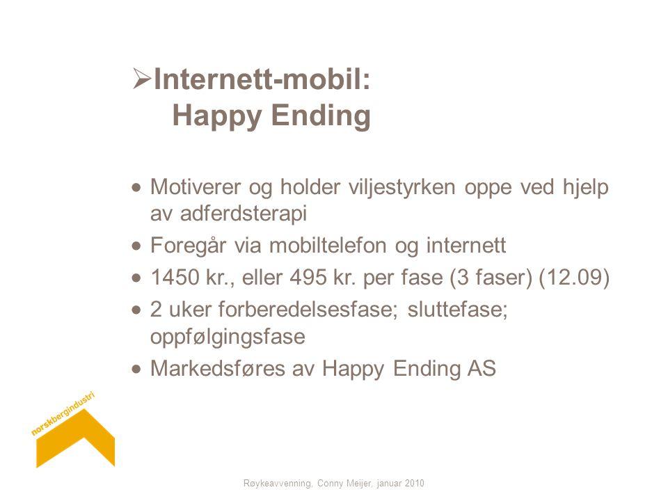 Røykeavvenning, Conny Meijer, januar 2010  Internett-mobil: Happy Ending  Motiverer og holder viljestyrken oppe ved hjelp av adferdsterapi  Foregår via mobiltelefon og internett  1450 kr., eller 495 kr.