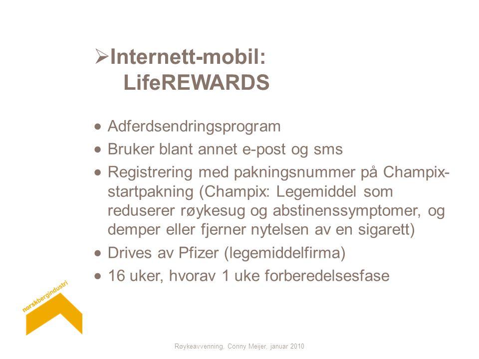 Røykeavvenning, Conny Meijer, januar 2010  Internett-mobil: LifeREWARDS  Adferdsendringsprogram  Bruker blant annet e-post og sms  Registrering me