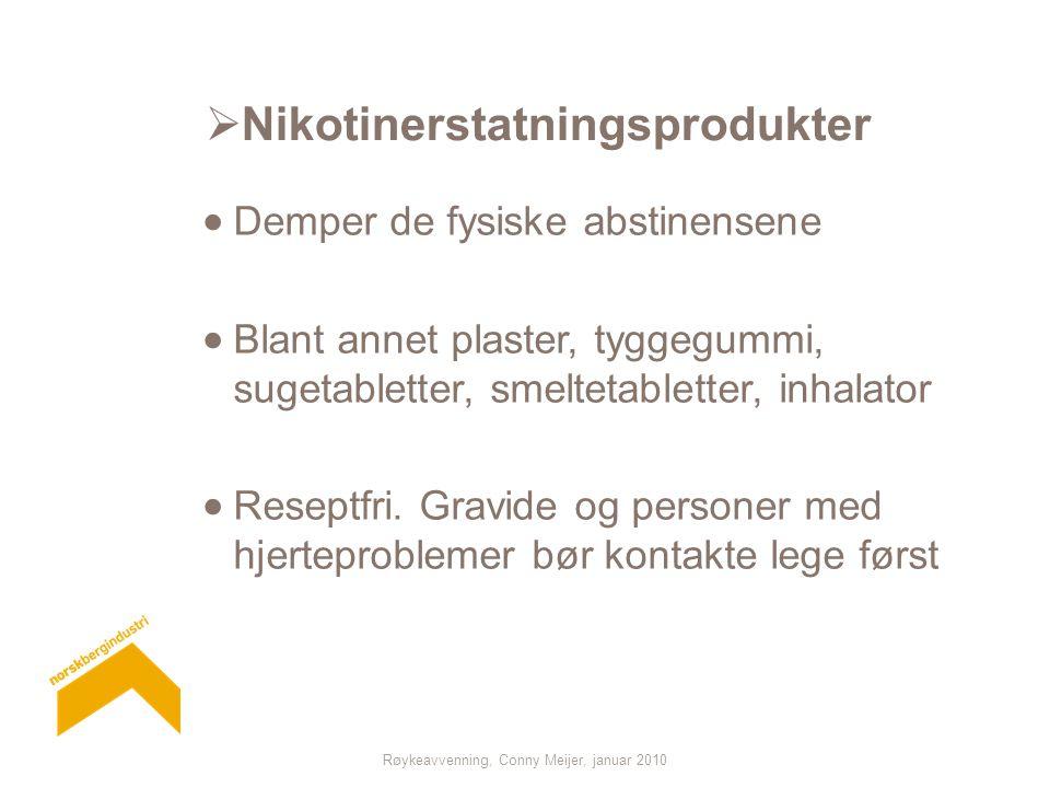 Røykeavvenning, Conny Meijer, januar 2010  Nikotinerstatningsprodukter  Demper de fysiske abstinensene  Blant annet plaster, tyggegummi, sugetabletter, smeltetabletter, inhalator  Reseptfri.