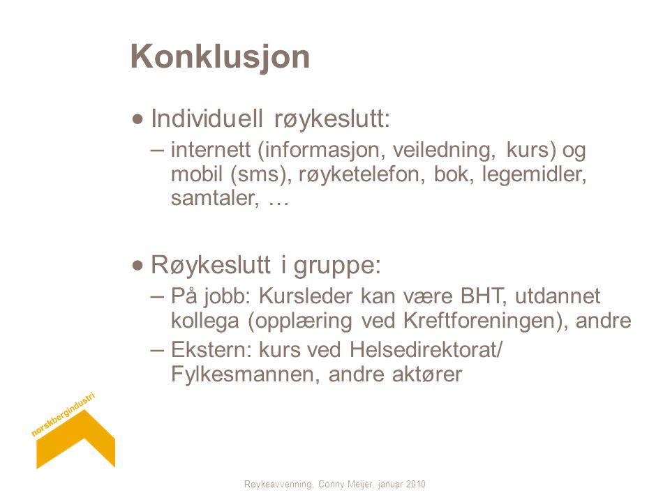 Røykeavvenning, Conny Meijer, januar 2010 Konklusjon  Individuell røykeslutt: – internett (informasjon, veiledning, kurs) og mobil (sms), røyketelefo