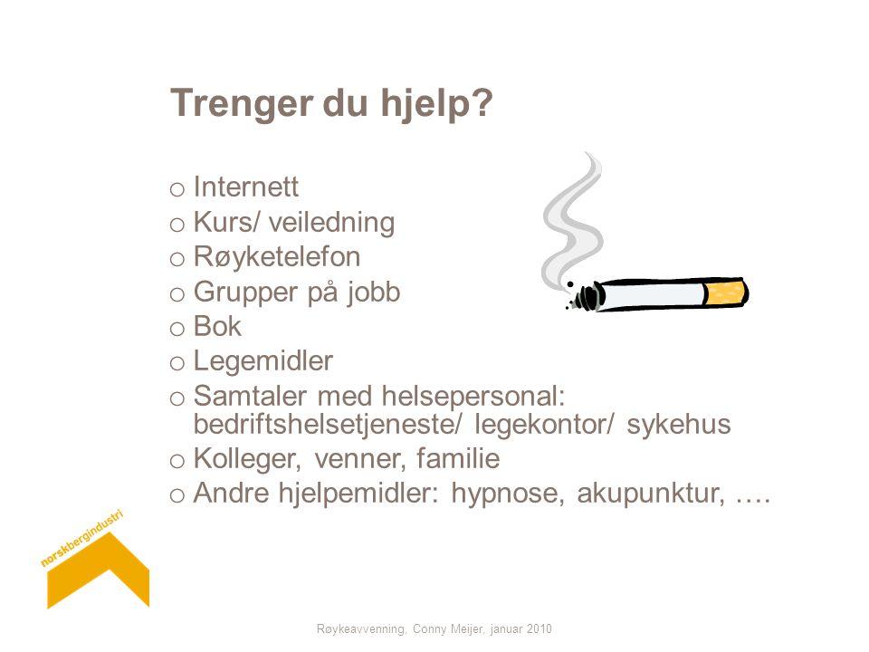 Røykeavvenning, Conny Meijer, januar 2010 Trenger du hjelp? o Internett o Kurs/ veiledning o Røyketelefon o Grupper på jobb o Bok o Legemidler o Samta