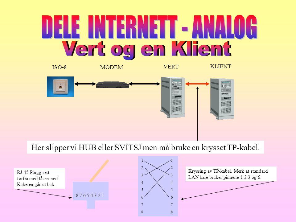 ISO-8 MODEM VERT KLIENT Her slipper vi HUB eller SVITSJ men må bruke en krysset TP-kabel. 12345678 8 7 6 5 4 3 2 1 RJ-45 Plugg sett forfra med låsen n