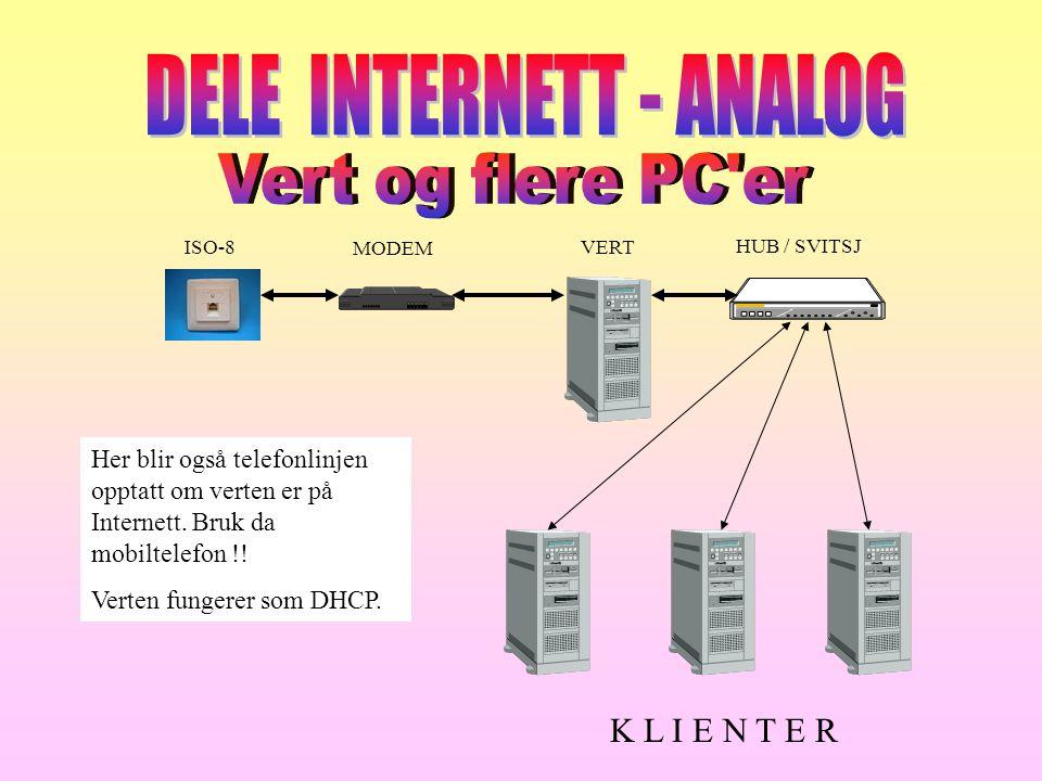 ISO-8 MODEM VERT HUB / SVITSJ K L I E N T E R Her blir også telefonlinjen opptatt om verten er på Internett. Bruk da mobiltelefon !! Verten fungerer s