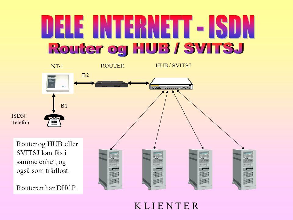 NT-1 ROUTER HUB / SVITSJ K L I E N T E R ISDN Telefon B1 B2 Router og HUB eller SVITSJ kan fås i samme enhet, og også som trådløst. Routeren har DHCP.