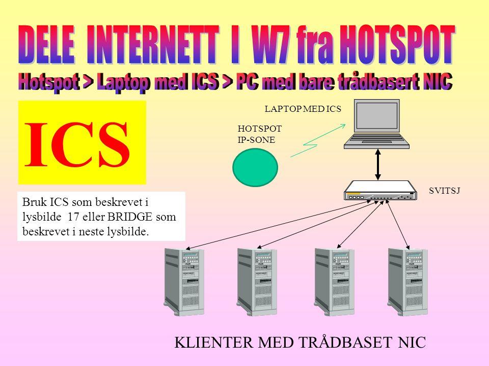 LAPTOP MED ICS KLIENTER MED TRÅDBASET NIC Bruk ICS som beskrevet i lysbilde 17 eller BRIDGE som beskrevet i neste lysbilde. SVITSJ HOTSPOT IP-SONE ICS
