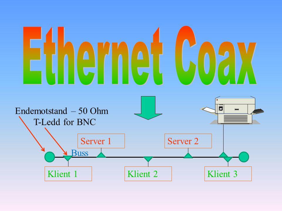 Server 1Server 2 Klient 1Klient 3Klient 2 Buss Endemotstand – 50 Ohm T-Ledd for BNC