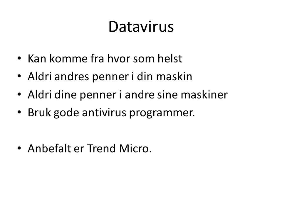 Datavirus • Kan komme fra hvor som helst • Aldri andres penner i din maskin • Aldri dine penner i andre sine maskiner • Bruk gode antivirus programmer
