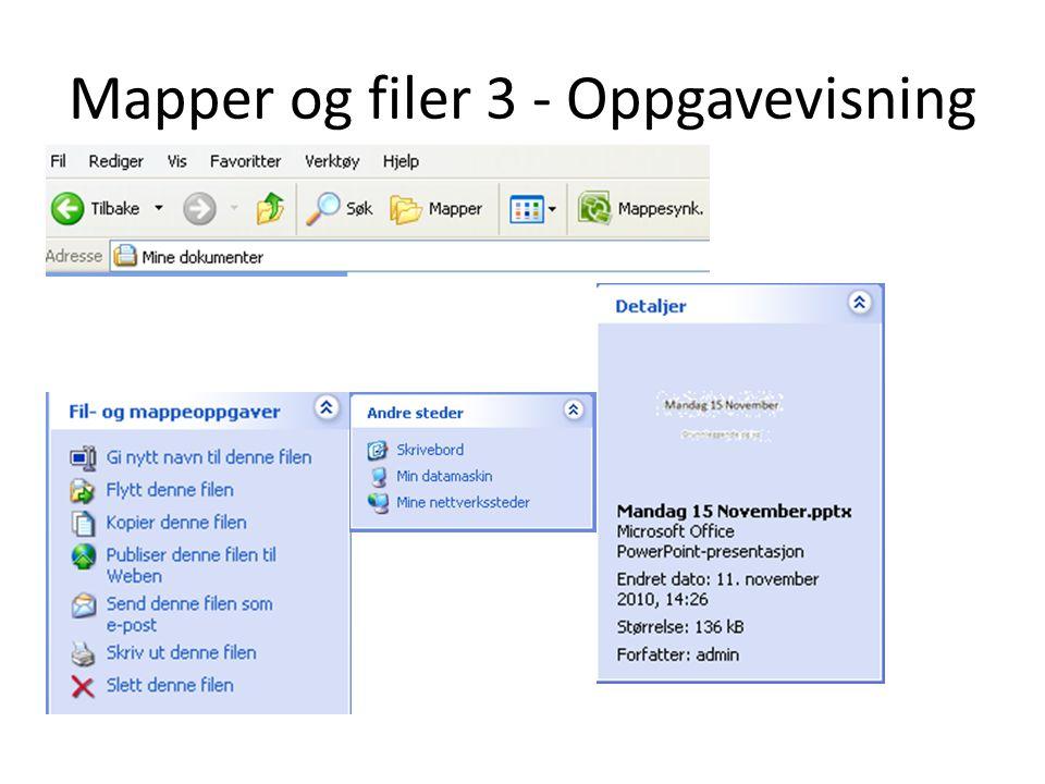 Mapper og filer 3 - Oppgavevisning