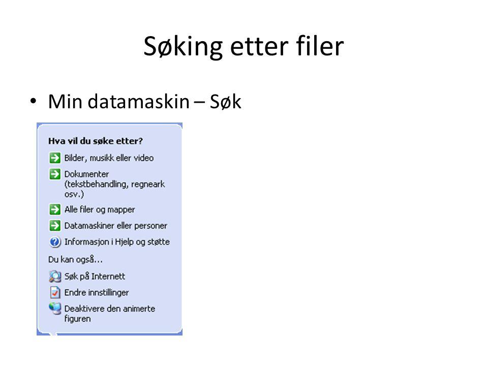 Søking etter filer • Min datamaskin – Søk