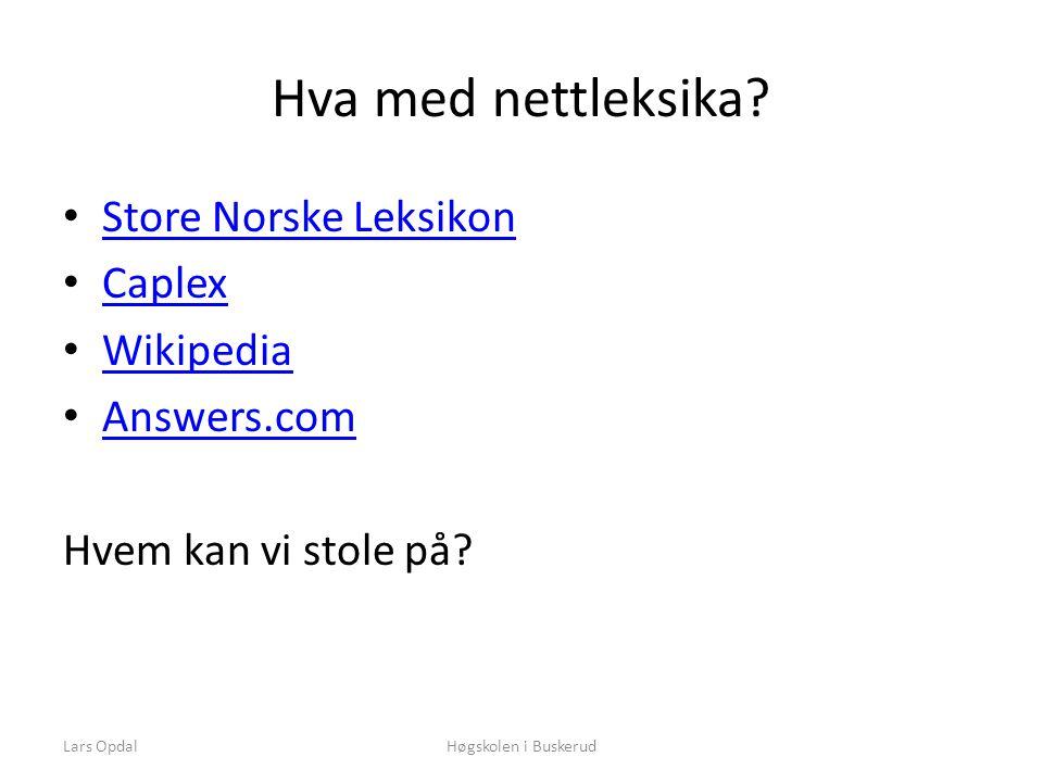 Lars OpdalHøgskolen i Buskerud Hva med nettleksika.