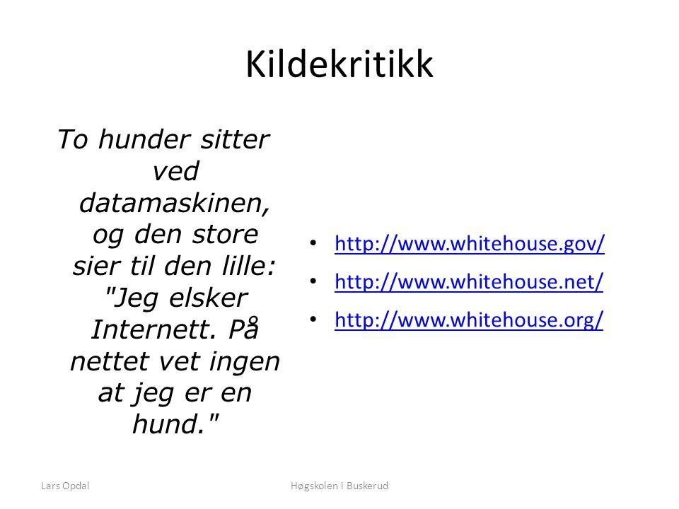 Lars OpdalHøgskolen i Buskerud Kildekritikk To hunder sitter ved datamaskinen, og den store sier til den lille: Jeg elsker Internett.