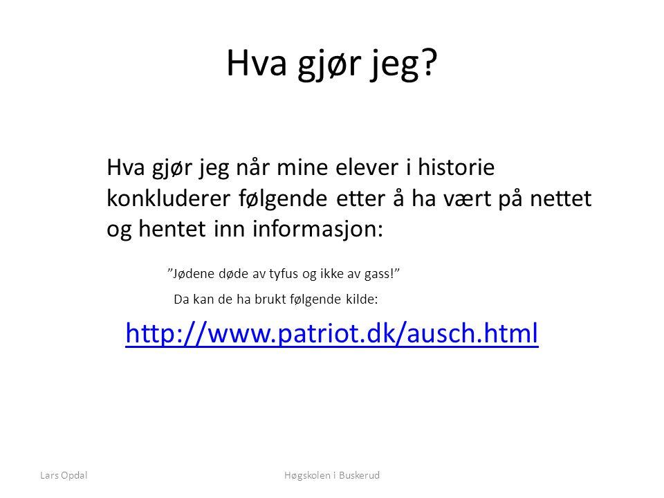 Lars OpdalHøgskolen i Buskerud Hva gjør jeg.