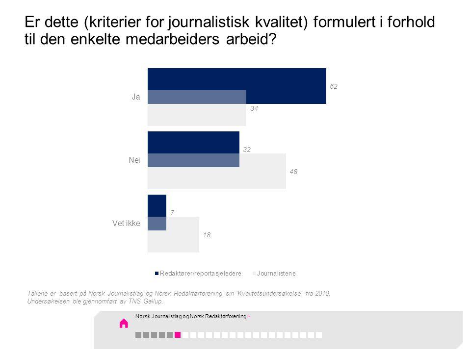 Er dette (kriterier for journalistisk kvalitet) formulert i forhold til den enkelte medarbeiders arbeid? Tallene er basert på Norsk Journalistlag og N